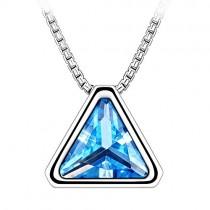 ブランドIUHA ® トライアングルネックレス オーストリア産 CZダイヤ 金属アレルギー対応 変色防止 (ブルー)