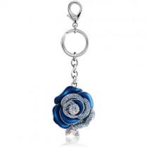 IUHA 彼女に バレンタイン 青いバラ「ブルーローズ」 バッグチャーム スワロフスキー石を使用 ストラップ キーリング ギフト (ブルーローズ)