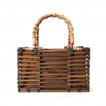 (イウハ) IUHA ナチュラルな和の雰囲気 竹製 軽量 巾着 竹籠バッグ かごバッグ 竹かご