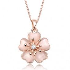 ブランドIUHA 18Kピンクゴールドメッキ 淡いピンク桜ネックレス オーストリア産のCZダイヤモンド