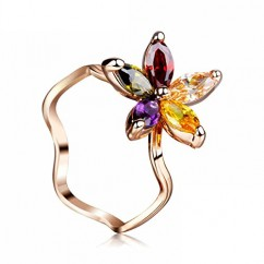 ブランドIUHA®夏の花 リング 指輪 オーストリア産 CZダイヤ 金属アレルギー対応 変色防止 (US5#(JP9号))