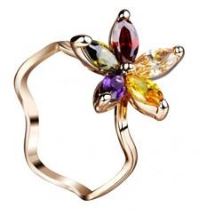 ブランドIUHA 夏の花 リング 指輪 オーストリア産 CZダイヤ 金属アレルギー対応 変色防止 (US8#(JP16.5号))