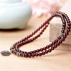 ブランドIUHA®【パワーストーン】天然石 ガーネット 蓮の花 2way 4連ブレスレット ネックレス