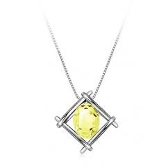 IUHA 【印象-美結晶】 ネックレス 人工宝石 (イエローサファイア)