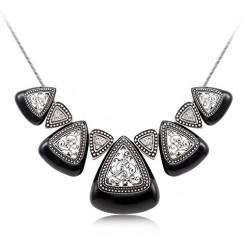 ブランドIUHA 民族的なデザイン ネックレス オーストリア産 CZダイヤ 金属アレルギー対応 変色防止 (ブラック)