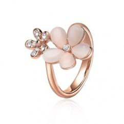 ブランドIUHA 18Kピンクゴールドメッキ 可憐なキャッツアイフラワーモチーフデザインリング 指輪 オーストリア産のCZダイヤモンド (6#)