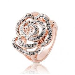 ブランドIUHA 18Kゴールドメッキ Piaget Roseピアジェ ローズ風バラデザイン リング 指輪 オーストリア産のCZダイヤモンド (ピンクゴールドメッキ 6#)