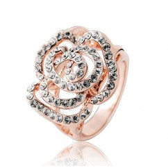 ブランドIUHA 18Kゴールドメッキ Piaget Roseピアジェ ローズ風バラデザイン リング 指輪 オーストリア産のCZダイヤモンド (ピンクゴールドメッキ 7#)