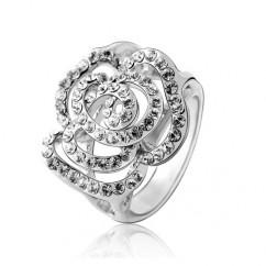 ブランドIUHA 18Kゴールドメッキ Piaget Roseピアジェ ローズ風バラデザイン リング 指輪 オーストリア産のCZダイヤモンド (ホワイトゴールドメッキ 6#)