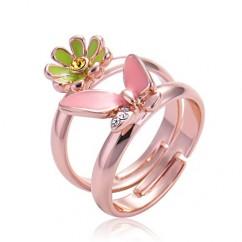 IUHA 18Kピンクゴールドメッキ お花+蝶々 フリーサイズ ピンキーリング 小指の指輪 リング オーストリア産のCZダイヤモンド