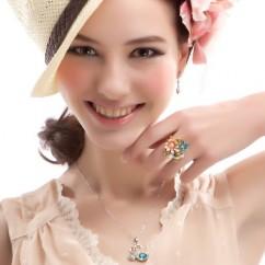 IUHA 18Kピンクゴールドメッキ マルチフラワーガーデンリング 指輪 スワロフスキー社製クリスタル (7#)