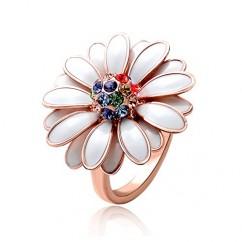 IUHA デイジー花のモチーフリング オーストリア産クリスタル (ホワイト 7#)