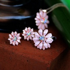 IUHA デイジー花のモチーフリング オーストリア産クリスタル (ピンク 7#)