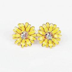 IUHA デイジー花のモチーフピアス オーストリア産クリスタル (黄色)