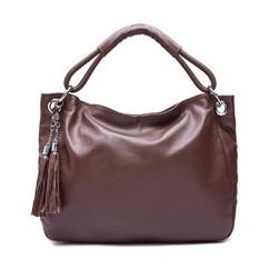 牛革 本革 ブランドIUHA タッセル付き 2way ハンドバッグ ショルダーバッグ トートバッグ レザー (チョコレート)