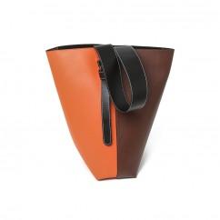 (イウハ) IUHA ポーチ付きバイカラー トート バッグ ショルダーバッグ コンビカラー 牛革 通勤 大容量 A4 (水色&濃いグレー)