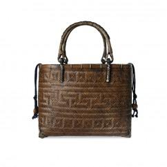 (イウハ) IUHA 浴衣や夏の着物に似合う かごバッグ  巾着  竹 籐持ち手  自然素材 リゾート