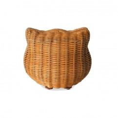 (イウハ) IUHA 可愛いねこ 猫 キティモチーフ 籐 かごバッグ (S) ショルダー付 クラッチバッグ ポーチ お財布 小物収納 ラタン 天然素材 夏バッグ 浴衣 リゾート