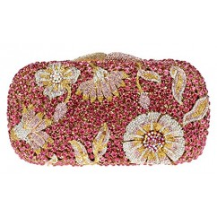 ブランドIUHA★ラインストーン 花柄2way 豪華パーティーバッグ クラッチバッグ ピンク