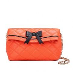キルティング2wayチェーンバッグ クラッチバッグ/ショルダーバッグ/ハンドバッグ/かばん (オレンジ(ブラックリボン))