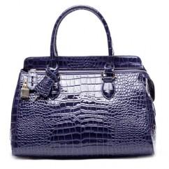 IUHA 高級本革クロコ型押し 錠付き ファスナー飾り2way ハンドバッグ ショルダーバッグ A4 通勤用 ブルー