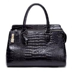 IUHA 高級本革クロコ型押し 錠付き ファスナー飾り2way ハンドバッグ ショルダーバッグ A4 通勤用 (黒色)