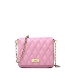 イタリア産羊革 ラムスキンキルティングWチェーンショルダーバッグ(S) ピンク