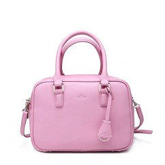 本革 牛革クラシックミニボックス2wayハンドバッグ ショルダーバッグ ピンク