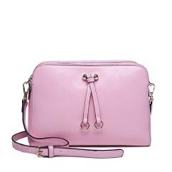オイルレザー 牛革 リボン クラシック ミニショルダーバッグ ピンク
