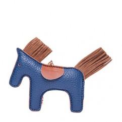 IUHA★ギフトに最適 バイカラー 馬 ポニー チャーム バッグチャーム エルメスが好きな方におすすめ (ネイビー)