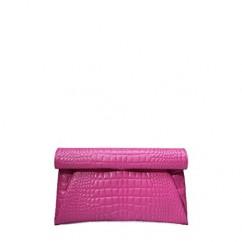 IUHA エレガントで上品なスタイル 本革クロコ型押しクラッチバッグ ピンク