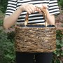 (イウハ) IUHA 和風バッグ 巾着  まだら竹 レディース 浴衣 着物 リゾート 自然素材 夏  軽量 花火大会